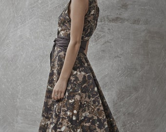 LAST SALE 50% off!!!! Forest dress, Plant print olive colors dress, classic shape, black wool belt