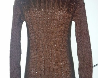 Dark brown cotton sweater no. 235