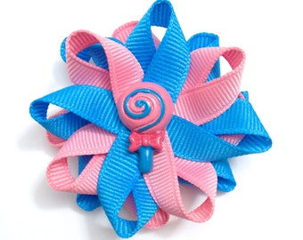 Blue & Pink Lollipop Hair Bows, Candy Hair Bows, Handmade Hair Bows, No Slip Hair Bows, Girls Hair Bows, Hair Accessories, Gifts for Her