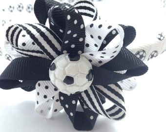 Soccer Ball Hair Bow Headband