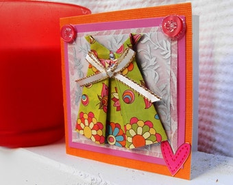 Gift Card,  For Her, Origami, Mini, Love,  Paper Dress Card, Note Card, Friendship Card, Handmade Card