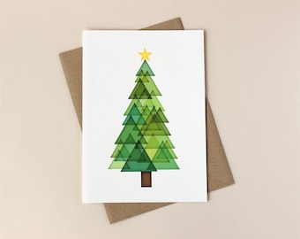 Christmas Card Set: Triangle Tree Holiday Cards