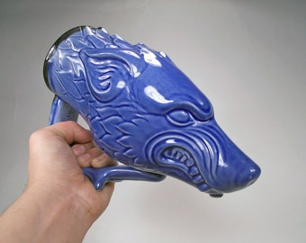 Dire Wolf Drinking Horn Beer Mug, Blue Stoneware Fantasy Art Mug, Wolf-Lovers, Renaissance Festival Costume Mug, Original Art & Design