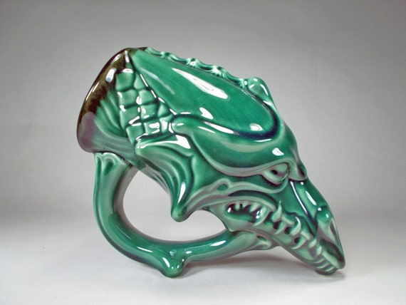 Dragon Mug Drinking Horn Style Emerald Green Glaze - 22oz  -Renaissance Costume Mug, Functional Fantasy Art Handcrafted Stoneware