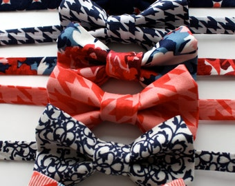 Little and Big Guy Bow Tie Bowtie - Navy and Coral Collection - (Newborn-Adult) - Baby Boy Toddler Teen Man - (Made to Order)
