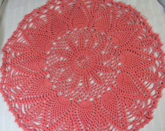 Coral Doily-16 inch Doily-Light Orange Doily-Pineapple Doily-Hand Crocheted Doily-Cindy's Loft