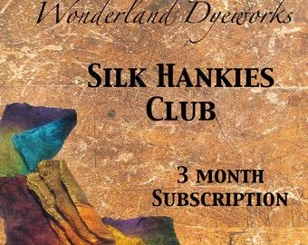 Mawata Silk Hankies Fiber Club - hand dyed silk fiber - hand painted spinning felting fiber - 3 month membership - Wonderland Dyeworks Club
