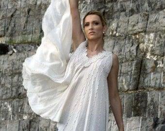 Bohemian Wedding Dress, Grecian Dress, Greek Dress, Summer Dress, White Dress, Asymmetrical Dress, Organic Cotton Dress, Plus Size Dress