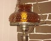 Retro Amber Hobnail Swag Lamp REDUCED