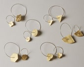 Geometric Brass And Sterling Silver Hoop Earrings (Small)