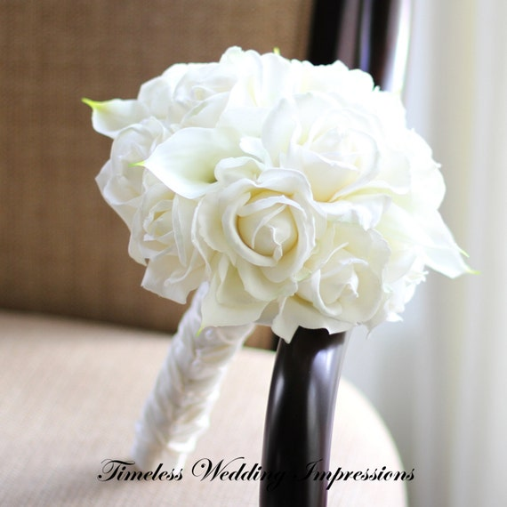 White Roses Calla Lilies Bouquet White Bridal Bouquet Roses