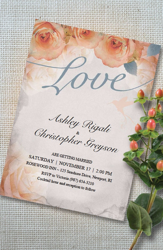 Beautiful Wedding Invitations Template in French Blue and Peach Rose ...