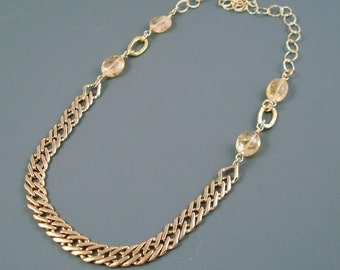 Gold and Citrine Necklace, Vintage Upcycled Electroplate Gold Chain, Citrine and Hammered Gold Fill