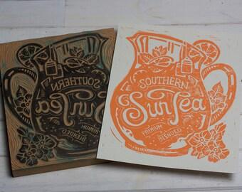 Southern Sun Tea-  Orange Block Print