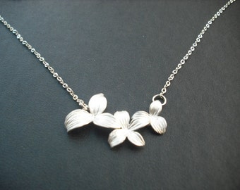 triple cute flowers necklace - white gold plated , bridesmaids gift, wedding gift, flower girl gift