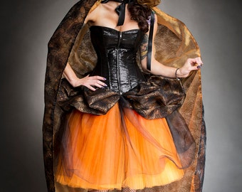 Clearance Size Large Orange and black Burlesque Sequin Spider corset dress with sparkle cape Ready to Ship