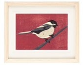 BLACK CAPPED CHICKADEE Linocut Reproduction Art Print: 4 x 6, 5 x 7