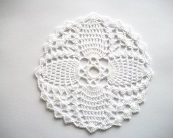 Crochet Flower Doily White Cotton Lace Heirloom Quality