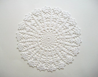 Crochet Large Doily White Cotton Lace Table Topper with Scalloped Edge Heirloom Quality