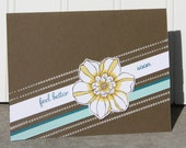4 Get Well Soon Cards - Hand Colored Flower with Blue Accents Design WITH FREE SHIPPING