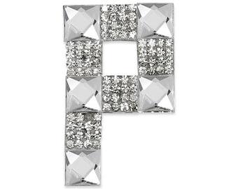 "E1327P Rhinestone Letter Applique P Iron On Patch 2.5"" Bridal & Clothing Decor Crystal (E1327P)"