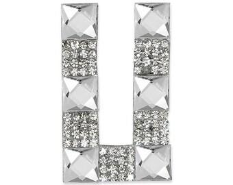 "E1327U Rhinestone Letter Applique U Iron On Patch 2.5"" Bridal & Clothing Decor Crystal (E1327U)"