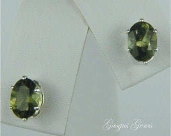 Moldavite Faceted Stud Earrings Sterling Silver 7x5mm Oval 1.35ctw Rare Natural Untreated
