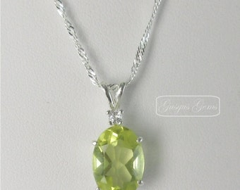 Lemon Quartz Sterling Silver Necklace 14x10mm 4.90ct