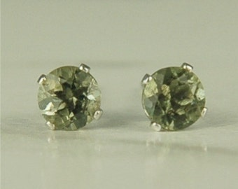 Moldavite Faceted Stud Earrings Sterling Silver 4mm .40ctw Natural Untreated
