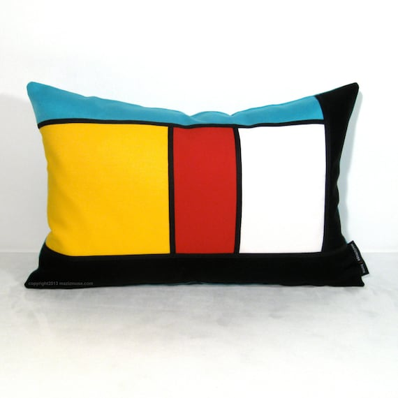 Modern Pillow Covers Etsy : Color Block Pillow Cover Modern Stripe Modrian by Mazizmuse