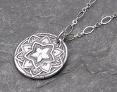 Mandala Yoga Jewelry Necklace Fine Silver Charm PMC Focal Pendant with Sterling Silver Jump Ring -Flower of Hope-