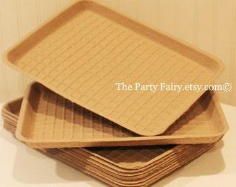 Brown Kraft Cardboard Food Tray, 6 Paper Food Trays, Strong Sturdy Cardboard Food Trays, Party Food Plate, Buffet Food Tray, Kraft Cardboard