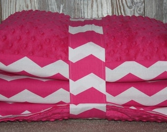Kinder Nap Mat Cover -Pink Chevron with Dark Pink Minky - Ready To Ship