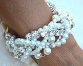 Rhinestone Pearl Bridesmaid Bracelet & Earrings Set Bridesmaid Ribbon Bracelet Swarovski Wedding Bracelet, Bridal Bracelet