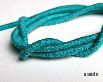 Wrapped cotton cord, cotton rope, teal, 1 meter