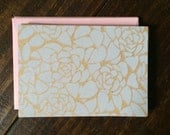 Peony Sketched Blank Notecard Set