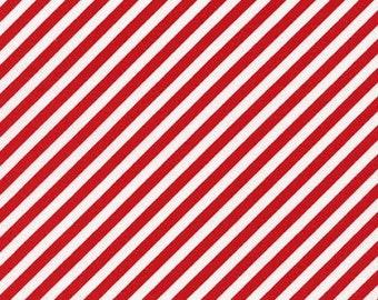 Nautical Fabric TT Patriotic Diagonal Stripe Stripes Red and White