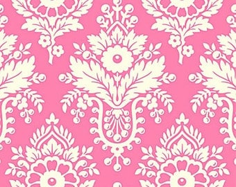 Up Parasol Fabric by Heather Bailey Lulu White Damask Floral Flowers on Bright Pink