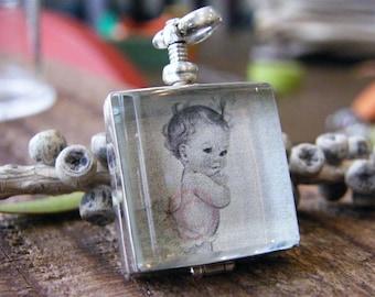 square glass locket sterling silver heirloom keepsake remembrance necklace