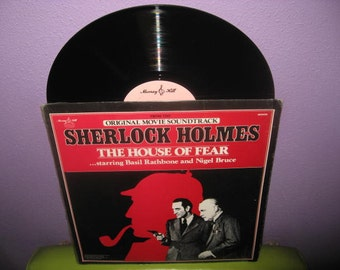 HOLIDAY SALE Vinyl Record Album Sherlock Holmes - The House of Fear Soundtrack LP 1945/1980 Basil Rathbone Classics