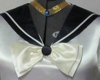 Sailor Uranus Moon Scout Collar Cosplay Costume Anime Accessory Navy Collar Cream Bow Fuku Child Size