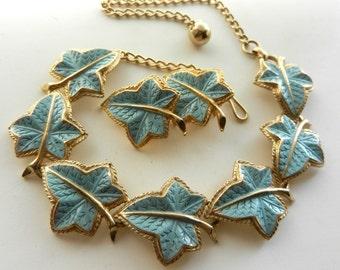 Gorgeous necklace and earrings set - fantastic enamel ivy leaves - 1950 Italian Demi Parure --art.255/3--