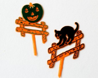 Retro Halloween Cupcake Toppers, Cat and Jack o' Lantern Cupcake Picks (12)