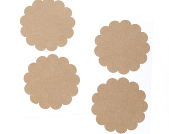 Scallop Circle Stickers (10) Kraft Scalloped Labels