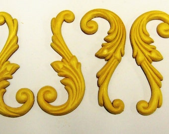 FREE SHIPPING 4 Pairs (8 Pieces)  Birch Wood Embossed Wings Trims Ornaments  Pediments Appliques 5.25 Inch