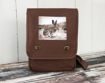 Vintage Jack Rabbit - Vintage Photograph from 1920's - Field Bag - Messenger Bag - School Bag - Canvas Bag