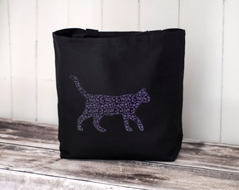 Koi Cat - Tote Bag - Black or Natural Canvas Bag - Carryall Tote - School Bag