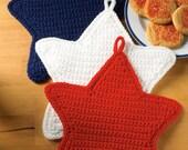 X660 Crochet PATTERN ONLY Patriotic Stars Pot Holder Potholders Pattern