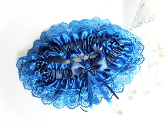 Wedding Bridal Garter with Lace Embellishment Royal Blue color