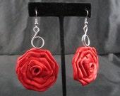 Handmade Ribbon Rose Rosette Dangle Earrings *1 Pair*